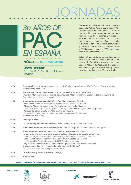 """Programa de la jornada """"30 años de PAC en España"""""""