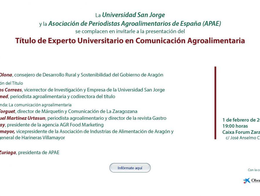 Zaragoza acoge una presentación del primer Título de Experto Universitario en Comunicación Agroalimentaria