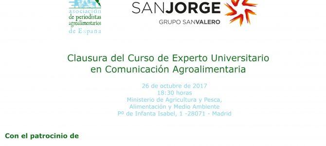 El MAPAMA acoge la clausura de la primera edición del Curso de Experto Universitario en Comunicación Agroalimentaria
