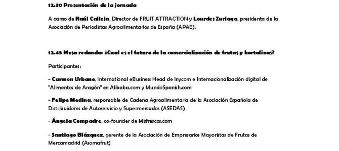 19 de Octubre: Jornada de APAE en Fruit Attraction