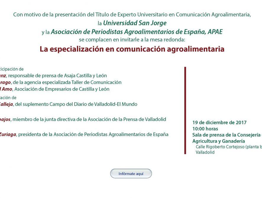 APAE presentará en Valladolid su Título de Experto Universitario en Comunicación Agroalimentaria