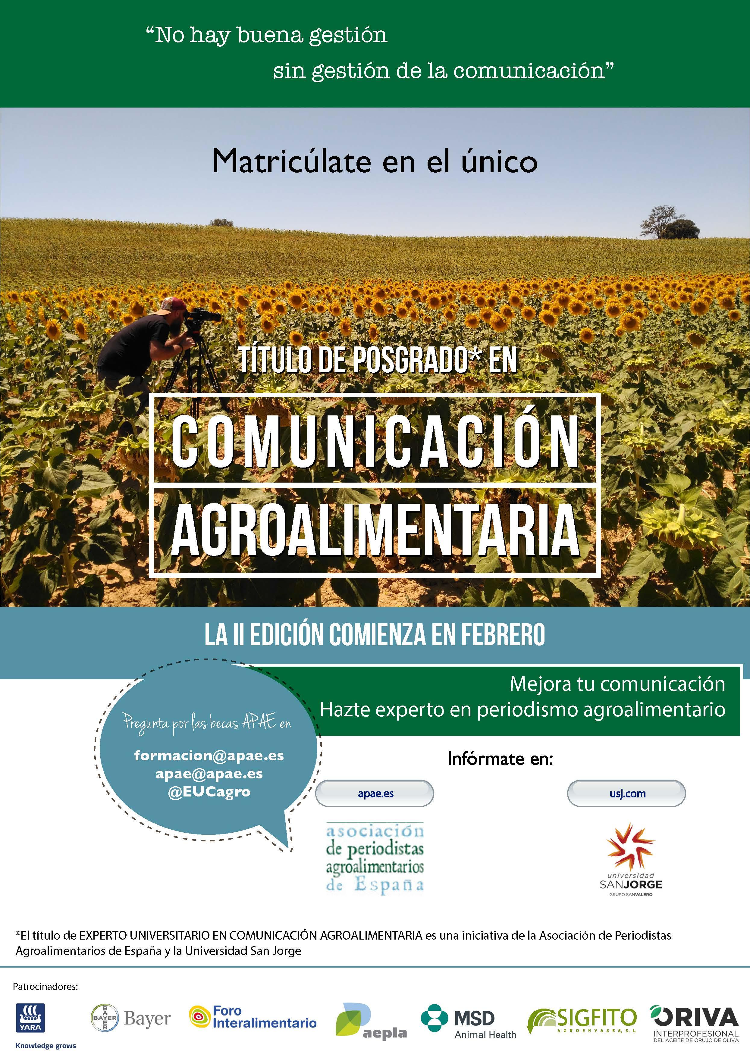 ORIVA completa los apoyos al Curso de Experto Universitario en Comunicación Agroalimentaria