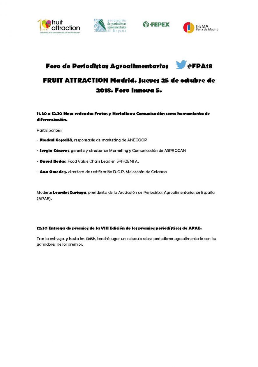 Avance: Foro de Periodistas Agroalimentarios. 25 de octubre en Fruit Attraction.