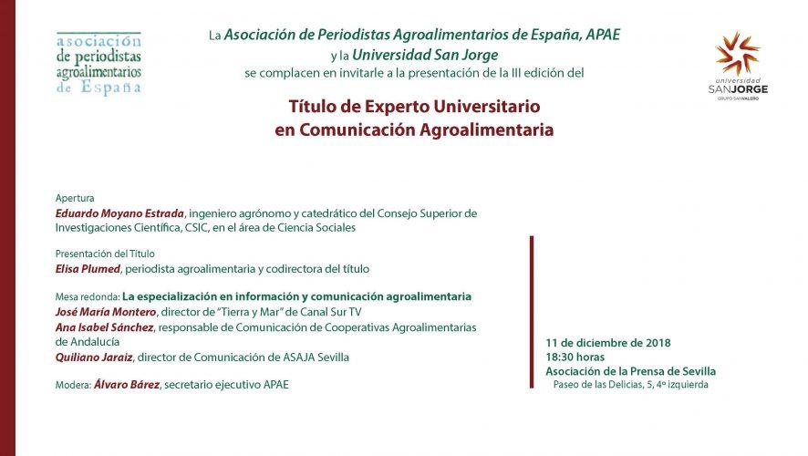 Convocatoria: Presentación III edición curso EUCAgro. 11 de diciembre en Sevilla