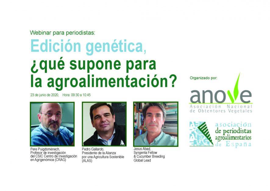 """Webinar """"Edición Genética: ¿Qué supone para la agroalimentación?"""""""