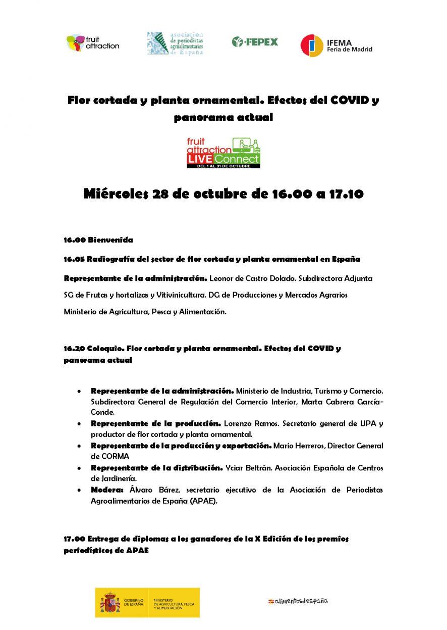 Agenda: 28/10/2020 Flor cortada y planta ornamental. Efectos del COVID y panorama actual